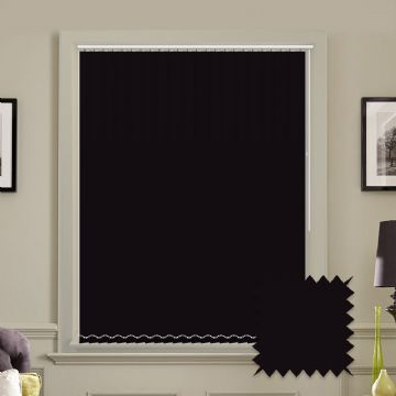 Blackout Bella Plain Noir Black Vertical Blinds